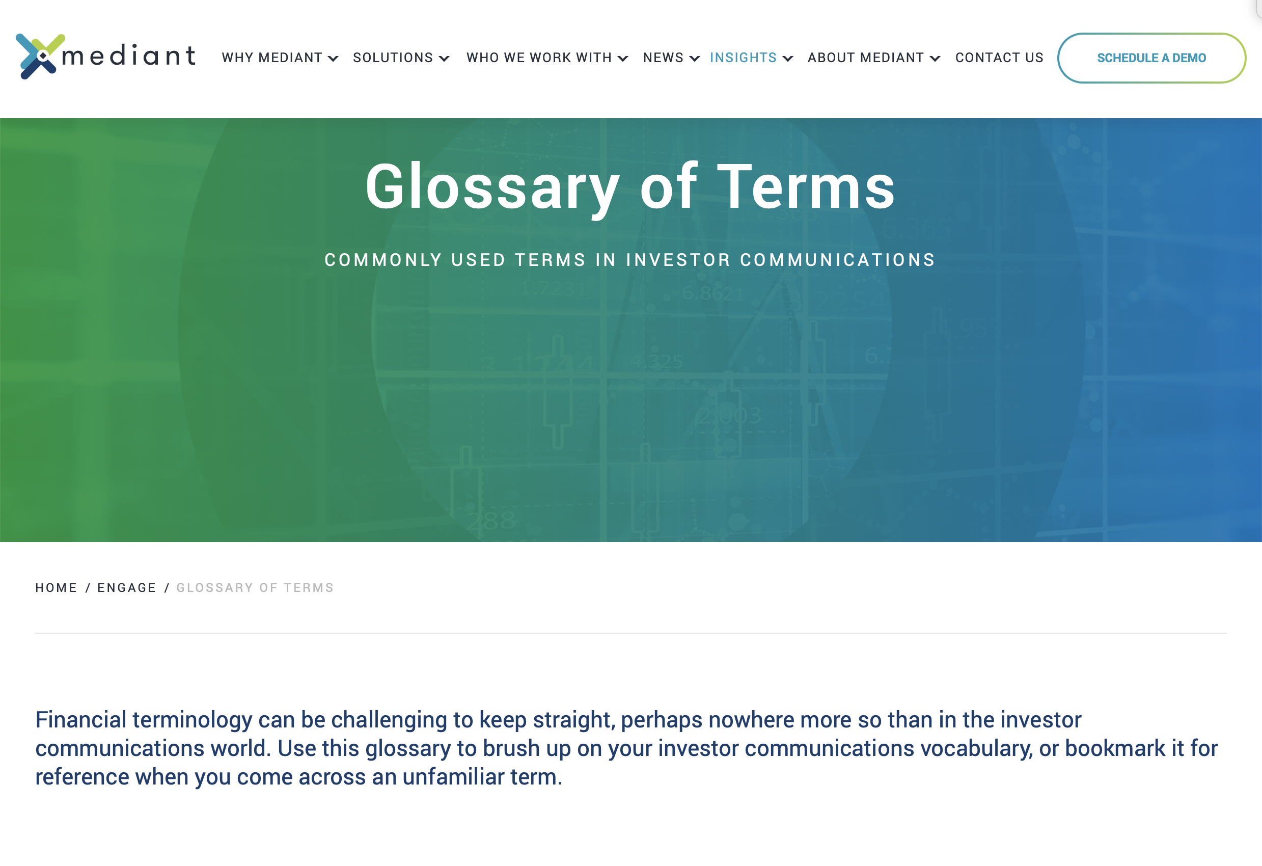 Glossary of Terms Webpage